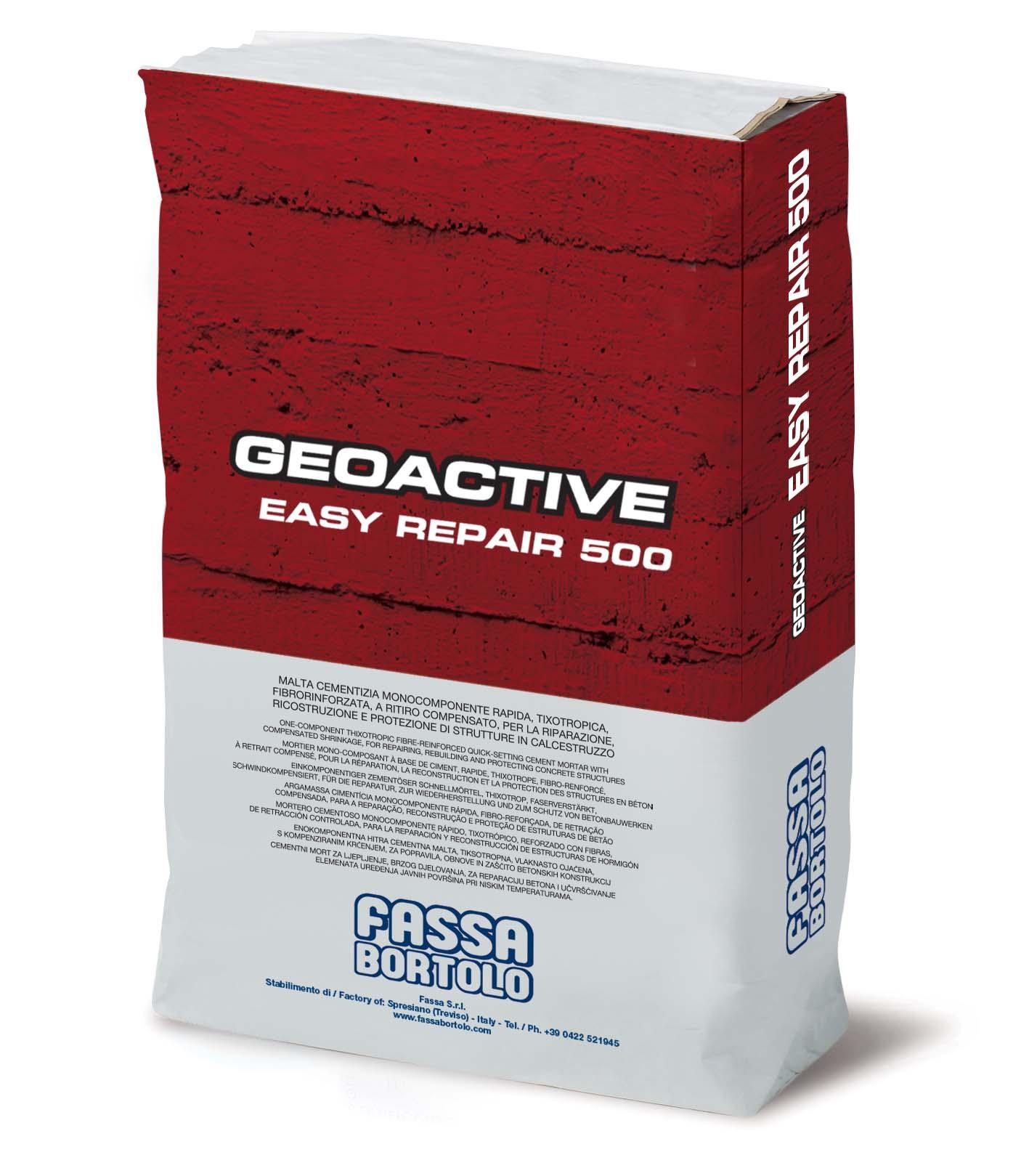 GEOACTIVE EASY REPAIR 500: Malta cementizia monocomponente rapida, tixotropica, fibrorinforzata, a bassissimo ritiro, per la riparazione, ricostruzione e protezione di strutture in calcestruzzo