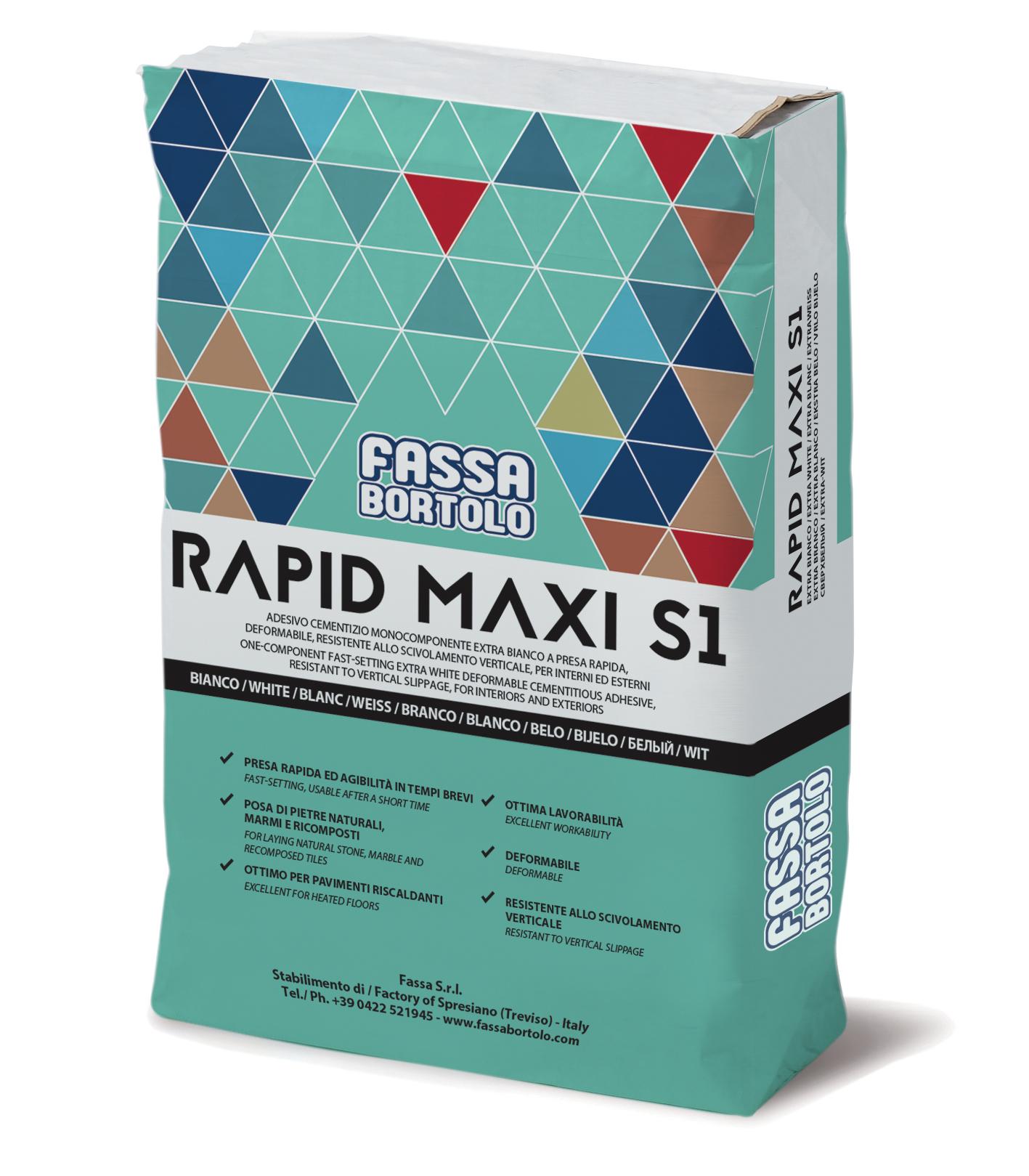 RAPID MAXI S1: Adesivo monocomponente a presa rapida, buona elasticità, extra-bianco e grigio, per pavimenti e rivestimenti sia in esterno che interno