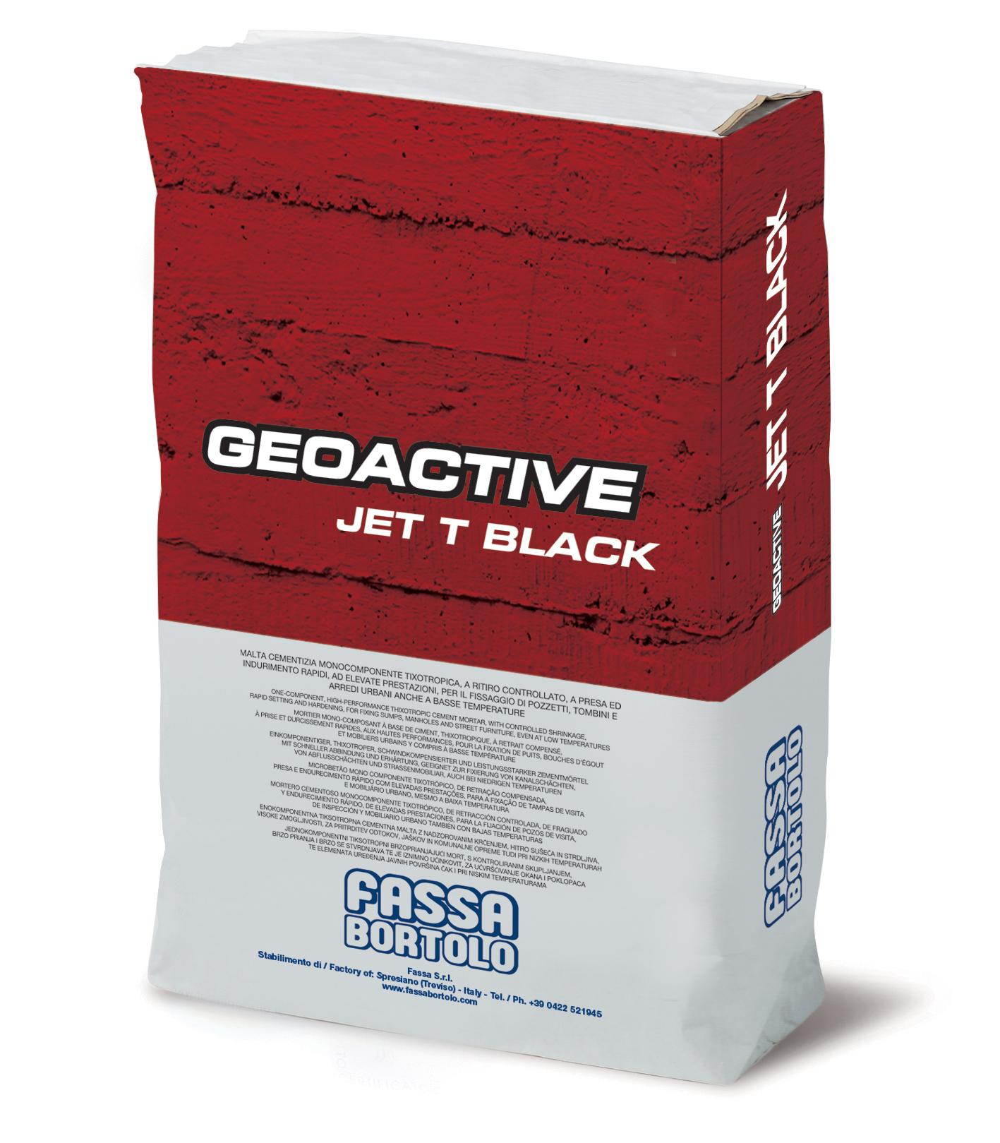GEOACTIVE JET T BLACK: Malta cementizia monocomponente rapida, di colore nero, tixotropica, fibrorinforzata, ad elevate prestazioni, per il posizionamento dei chiusini e il fissaggio degli arredi urbani anche a basse temperature