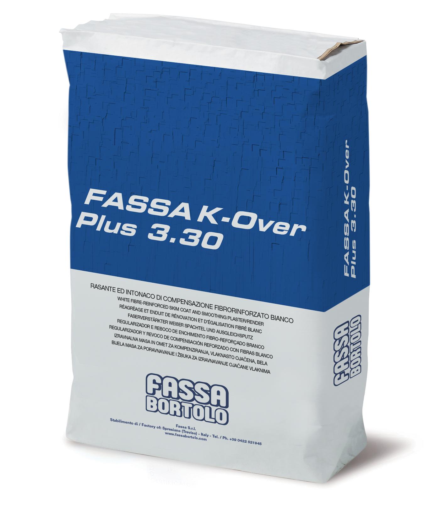 FASSA K-OVER PLUS 3.30: Rasante ed intonaco di compensazione fibrorinforzato bianco per la regolarizzazione ed il restauro di superfici interne ed esterne