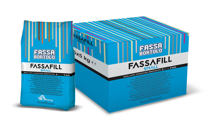 FASSAFILL SMALL: Sigillante cementizio idrofugato, con alte resistenze meccaniche ed elevata resistenza all'abrasione, resistente a muffe ed alghe, per stuccare fughe da 0 a 5 mm