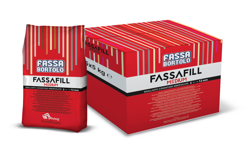 FASSAFILL MEDIUM: Sigillante cementizio idrofugato, con alte resistenze meccaniche ed elevata resistenza all'abrasione, resistente a muffe e alghe, per stuccare fughe da 2 a 12 mm