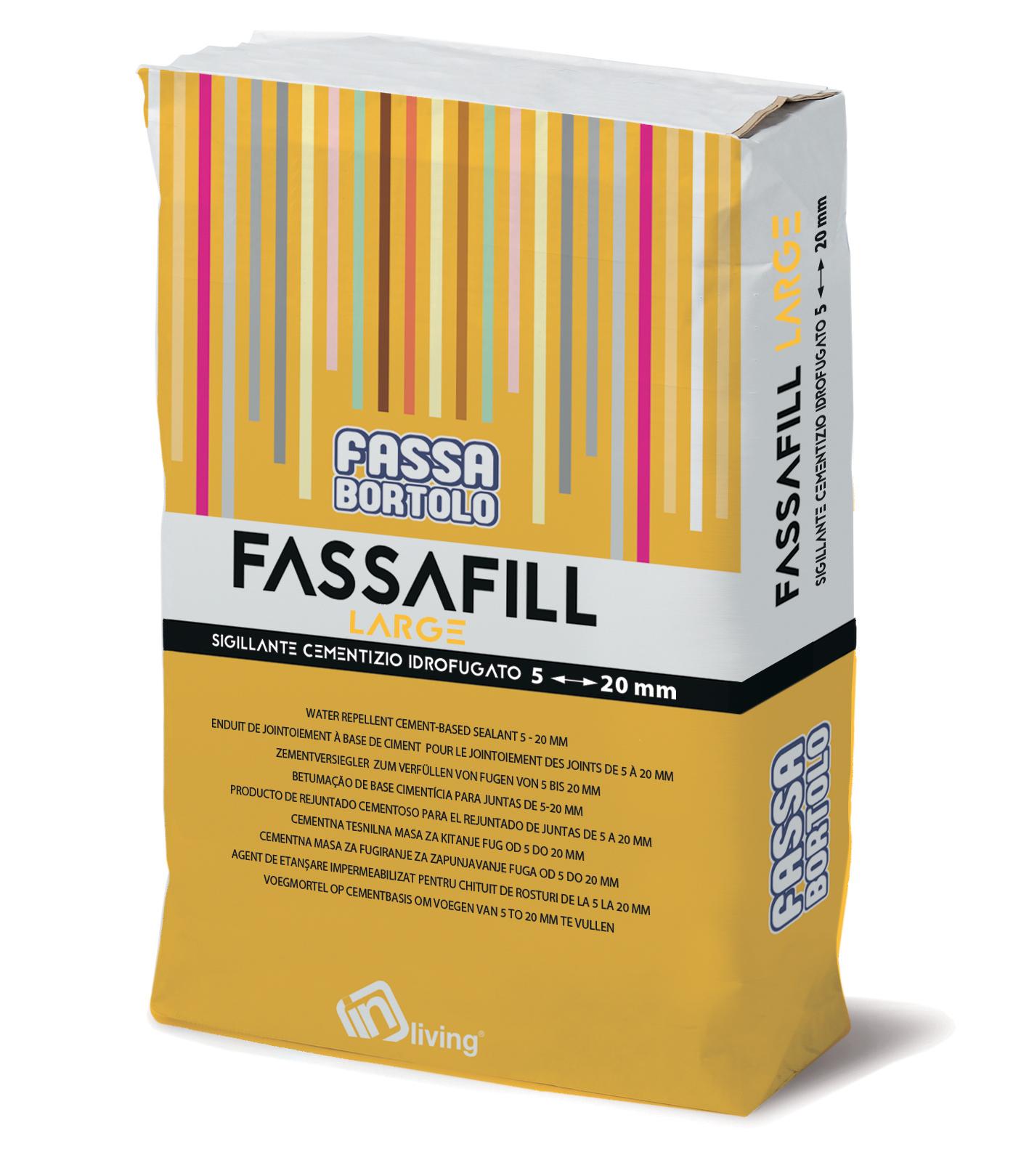 FASSAFILL LARGE: Sigillante cementizio idrofugato, con alte resistenze meccaniche ed elevata resistenza all'abrasione, resistente a muffe e alghe, per stuccare fughe da 5 a 20 mm