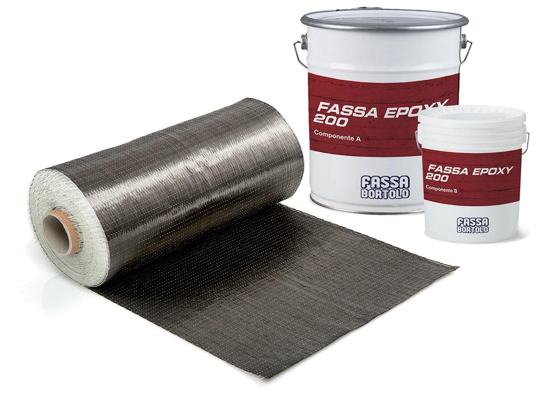 FASSATEX CARBON SYSTEM: Sistema di rinforzo strutturale FRP composto da un tessuto unidirezionale in fibra di carbonio ad alta resistenza e da una resina epossidica per l'impregnazione e l'incollaggio
