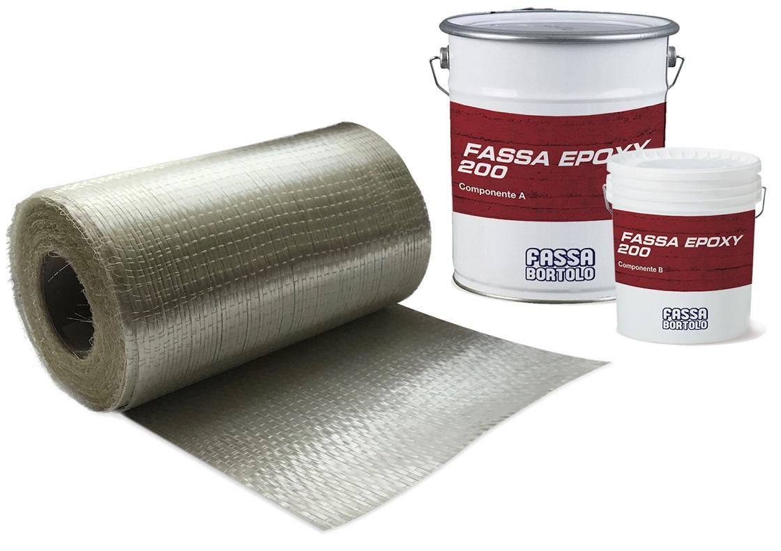 FASSATEX GLASS SYSTEM: Sistema di rinforzo strutturale FRP composto da un tessuto unidirezionale in fibra di vetro e da una resina epossidica per l'impregnazione e l'incollaggio