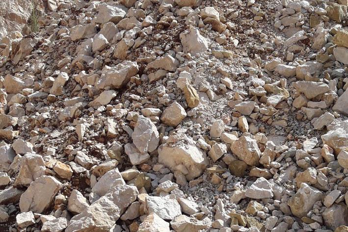 MATERIALE DI RIEMPIMENTO: Ghiaia a granulometria mista costituita prevalentemente da calcare, con rari elementi arenacei ed impurità organiche.