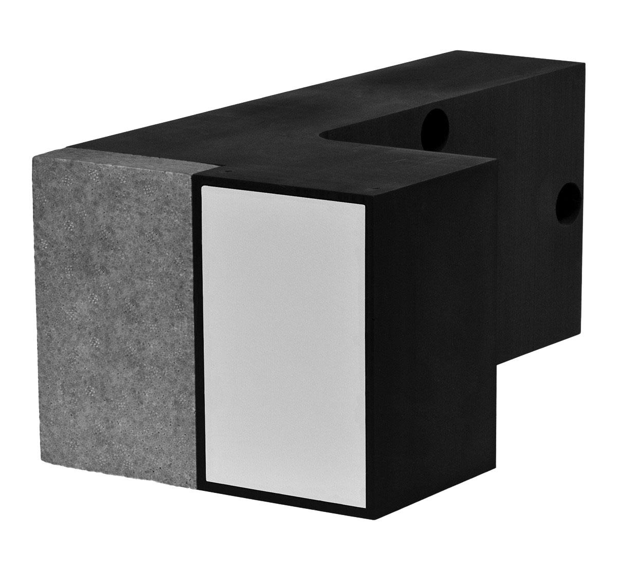 FASSA TRA-WIK-ALU-RL: Supporto in poliuretano angolare completo di 3 tasselli per il fissaggio meccanico per il montaggio di perni per il fissaggio di ringhiere, spallette delle finestre (balconi francesi) ecc.Disponibile fino a 300 mm di spessore