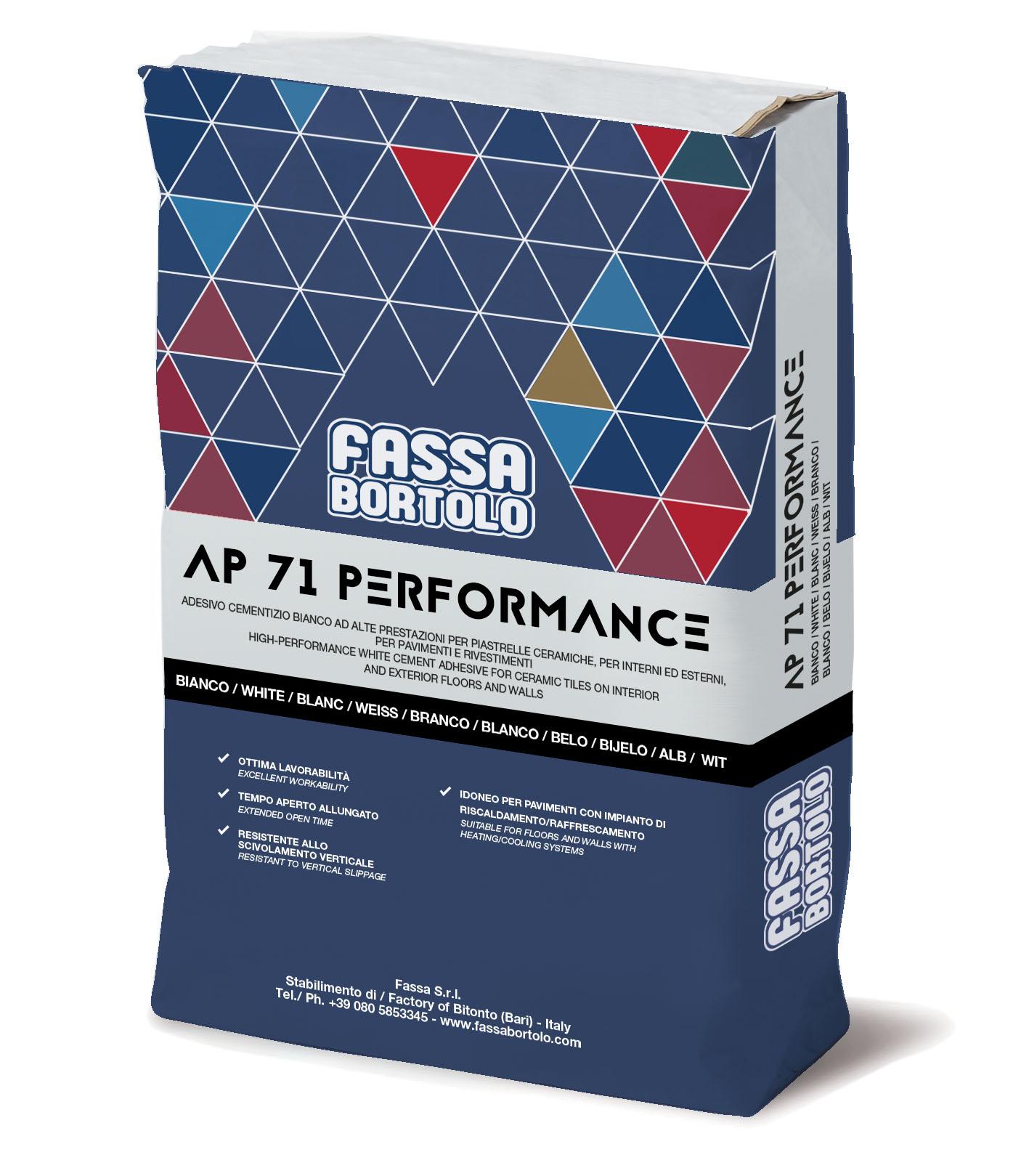 AP 71 PERFORMANCE: Adesivo monocomponente a base cementizia, bianco e grigio, antiscivolo ed a tempo aperto allungato, per pavimenti e rivestimenti sia in esterno che interno