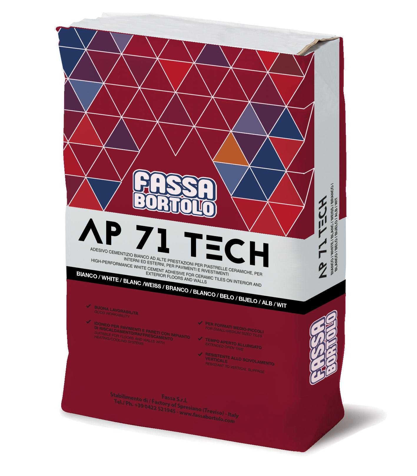 AP 71 TECH: Adesivo monocomponente a media elasticità, bianco e grigio, per pavimenti e rivestimenti sia in esterno che interno