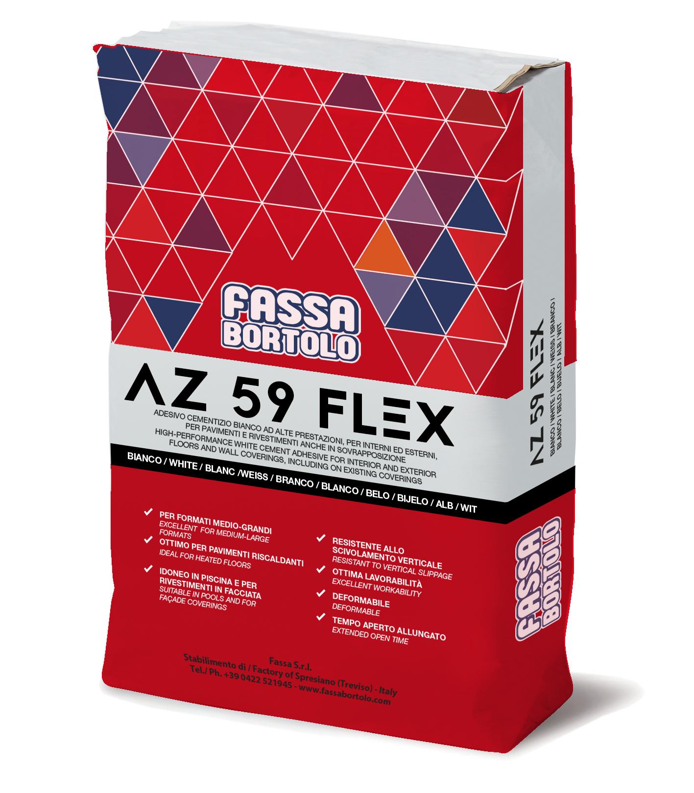 AZ 59 FLEX: Adesivo monocomponente a buona elasticità, bianco e grigio, per pavimenti e rivestimenti sia in esterno che interno