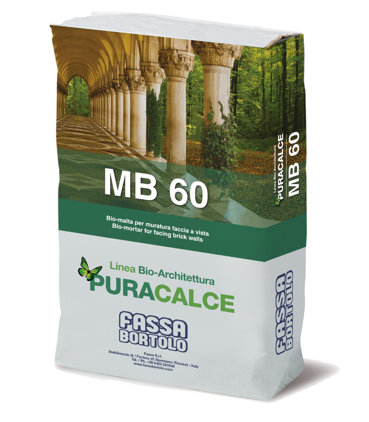 MB 60: Bio-malta per muratura faccia a vista bianca per interni ed esterni