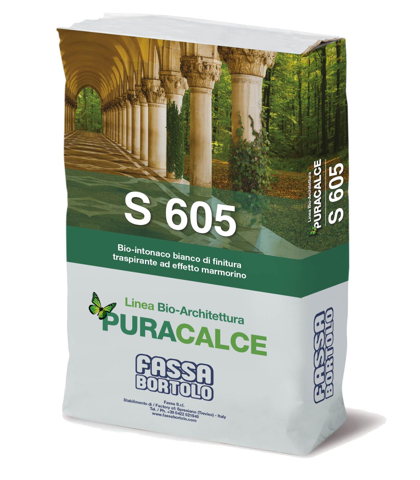 S 605: Bio-intonaco di finitura bianco, traspirante ad effetto marmorino per interni ed esterni