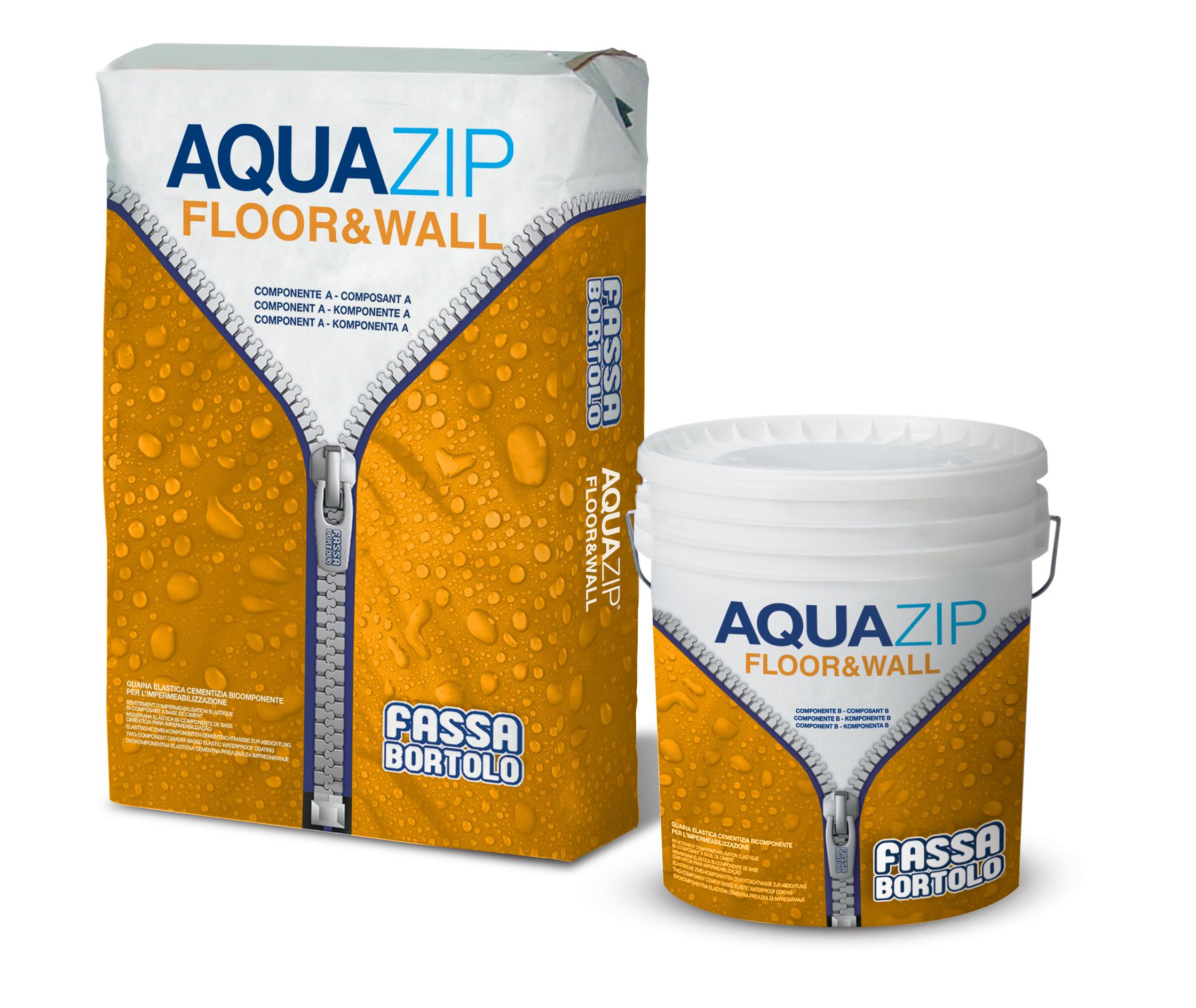 AQUAZIP FLOOR & WALL: Guaina elastica cementizia bicomponente per l'impermeabilizzazione di manufatti in calcestruzzo o murature sottoposti a spinta idrostatica positiva e negativa