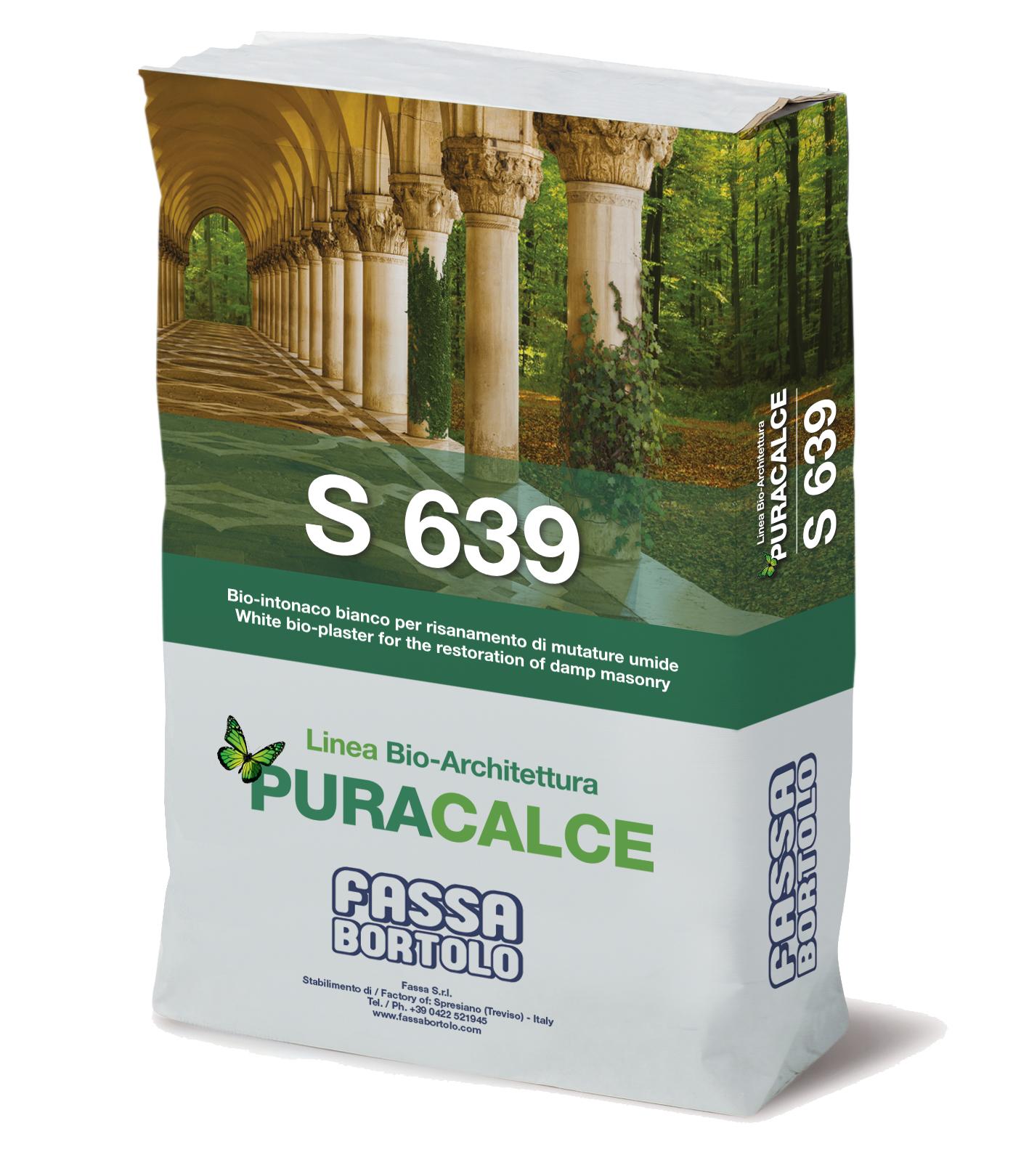 S 639: Bio-intonaco macroporoso bianco per il risanamento di murature umide ad effetto marmorino per interni ed esterni