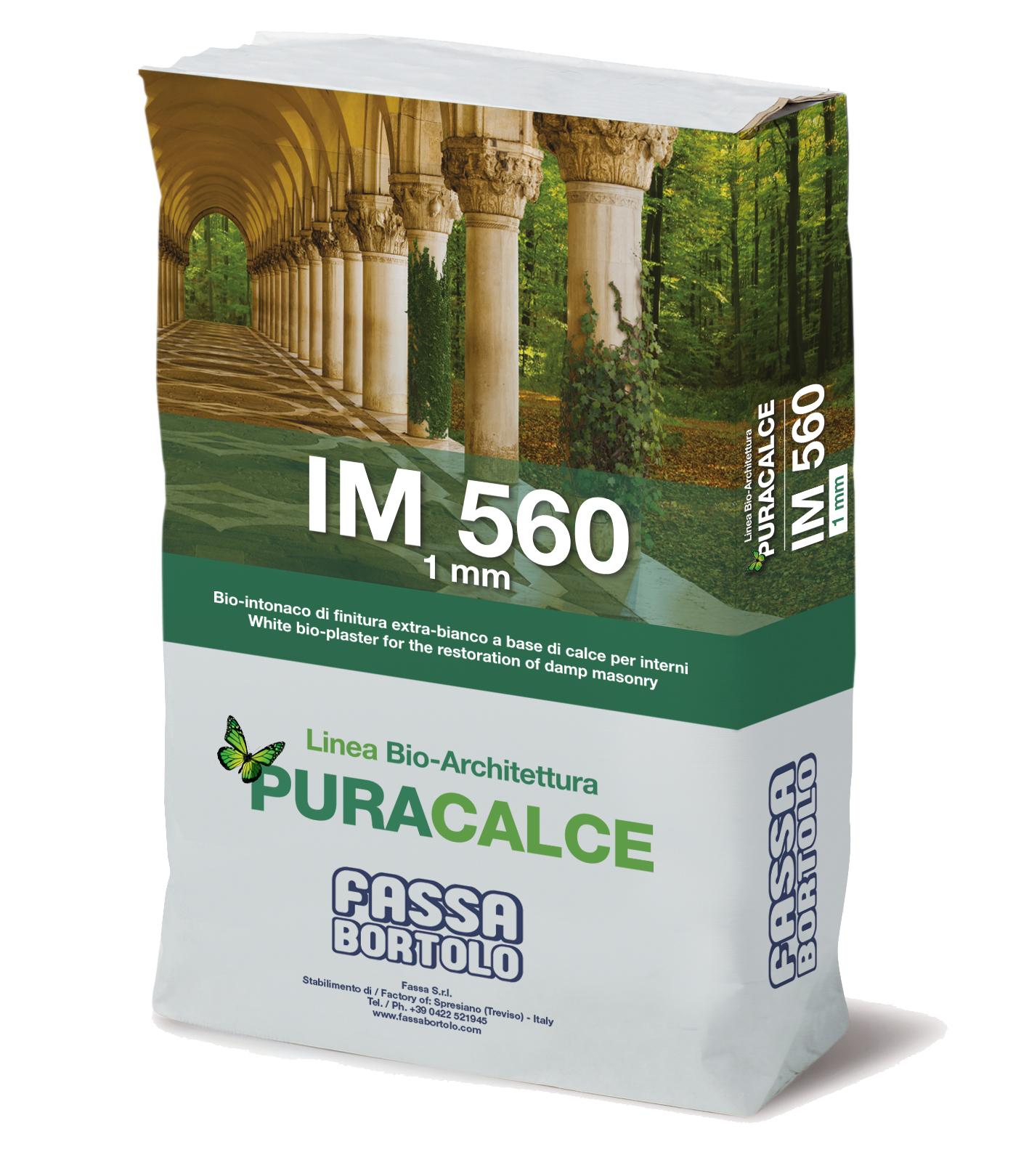 IM 560: Bio-intonaco di finitura a base di calce extra-bianco per interni