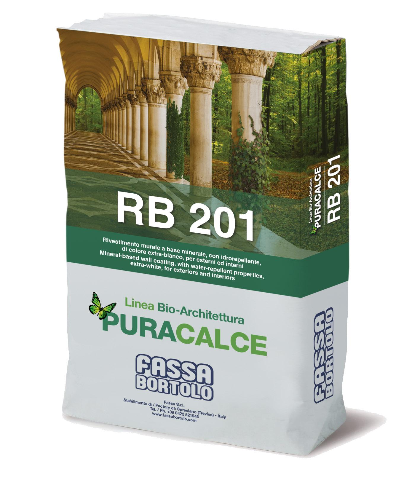 RB 201: Bio-rivestimento murale extra bianco a base minerale per esterni ed interni