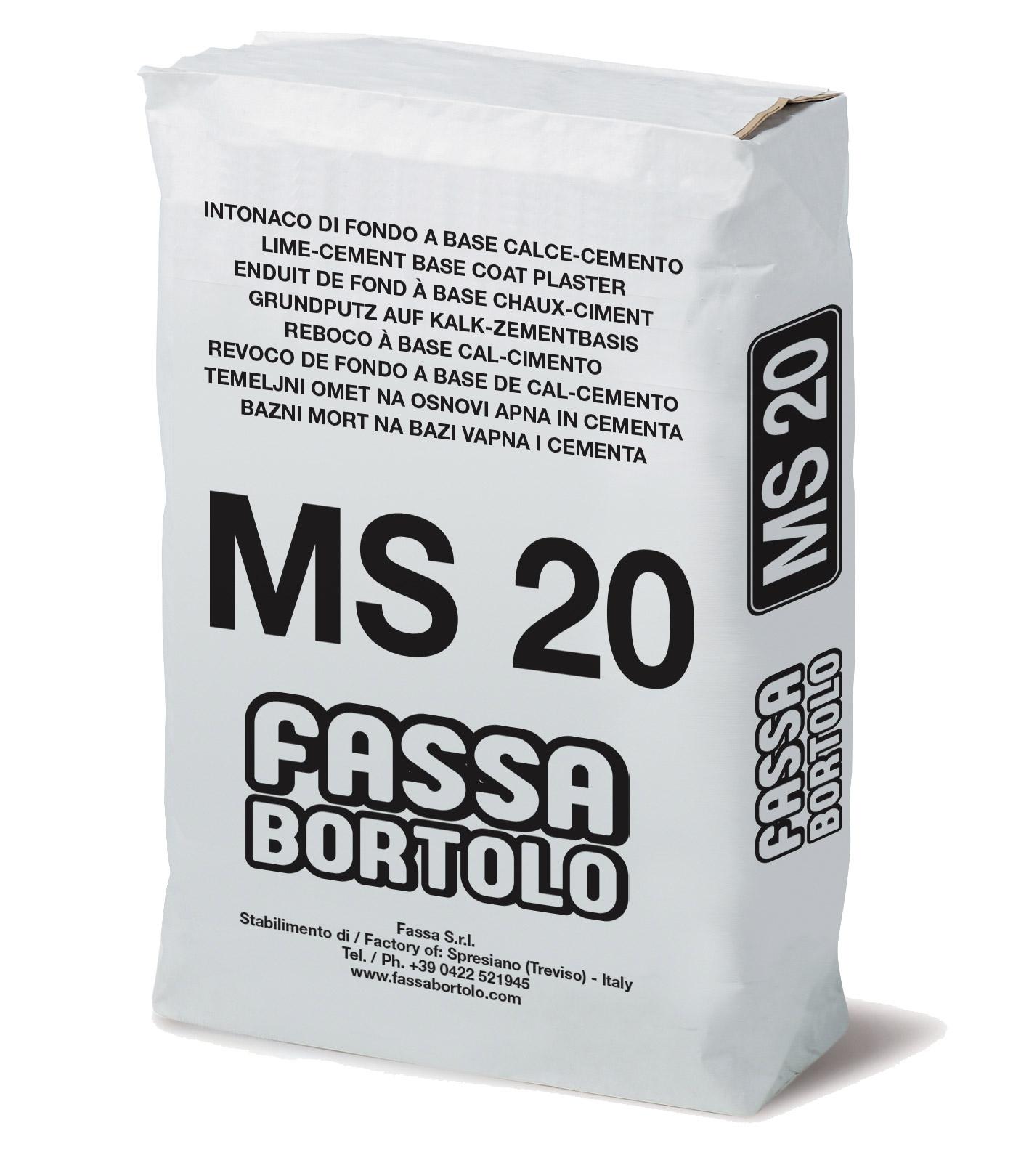 MS 20: Malta cementizia fibrorinforzata per muratura ed intonaco, per interni ed esterni