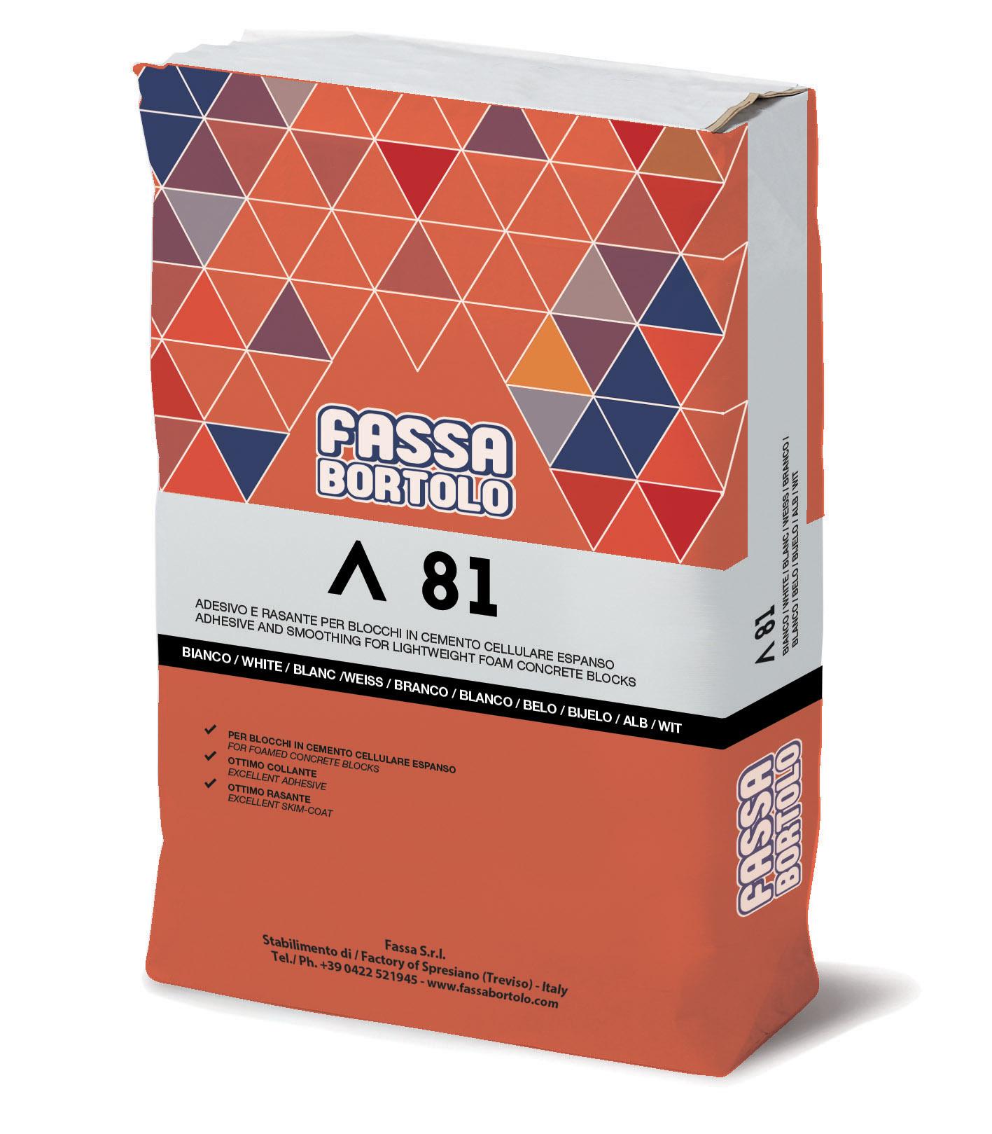 A 81: Adesivo e rasante bianco per blocchi in cemento cellulare espanso