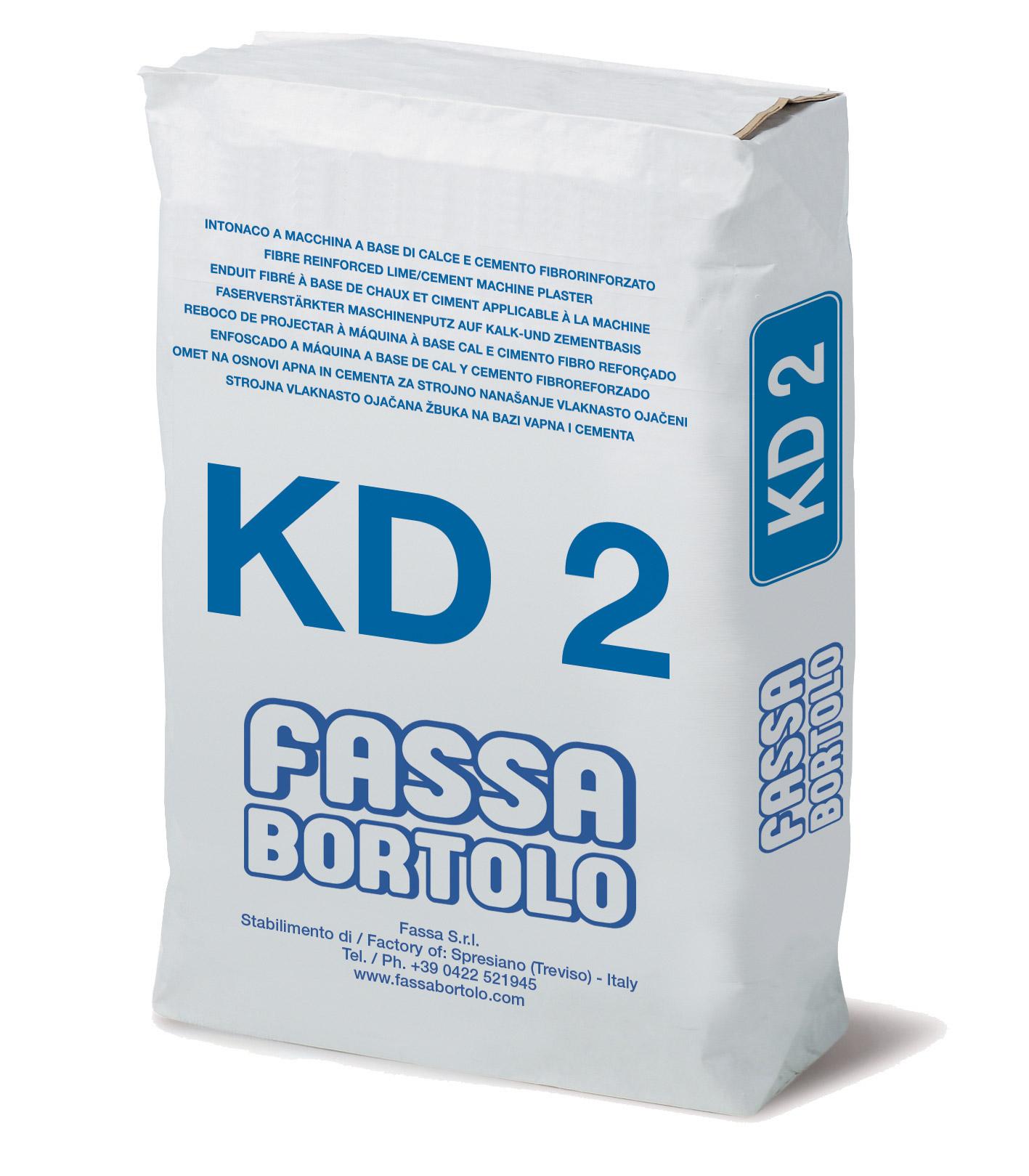 KD 2: Intonaco di fondo fibrorinforzato a base di calce e cemento, per interni ed esterni