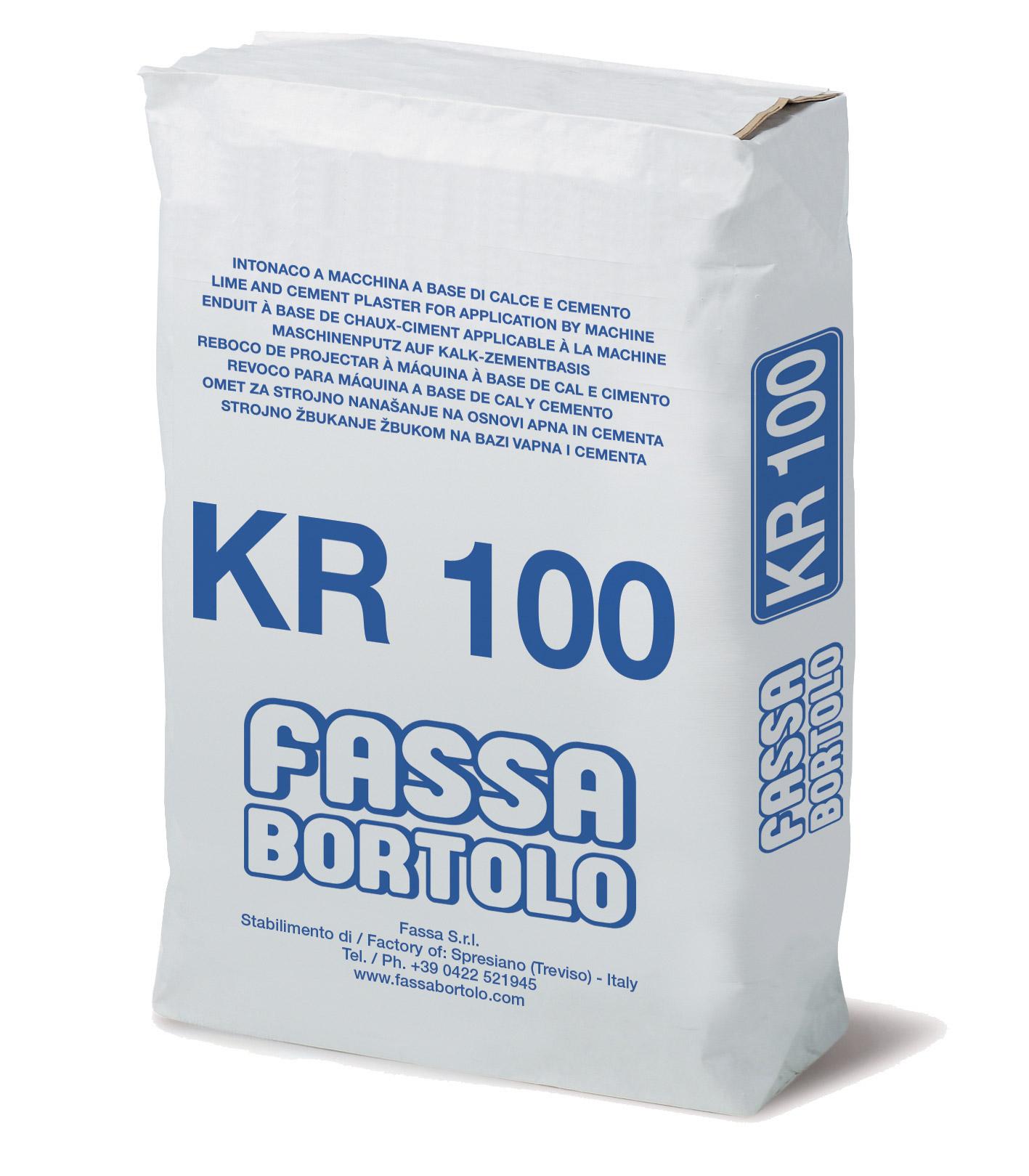 KR 100: Intonaco di fondo a base di calce e cemento, con elevate resistenze meccaniche, per esterni ed interni