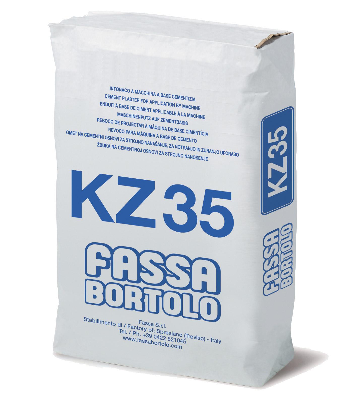 KZ 35: Intonaco di fondo con idrorepellente a base di cemento e pozzolana per zoccolatura in esterni ed interni