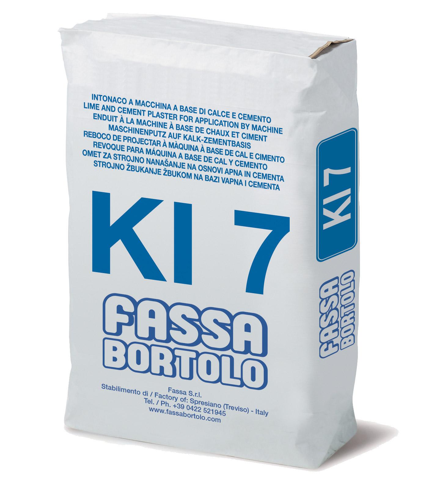 KI 7: Intonaco di fondo fibrorinforzato, con idrorepellente, a base di calce e cemento, per esterni ed interni