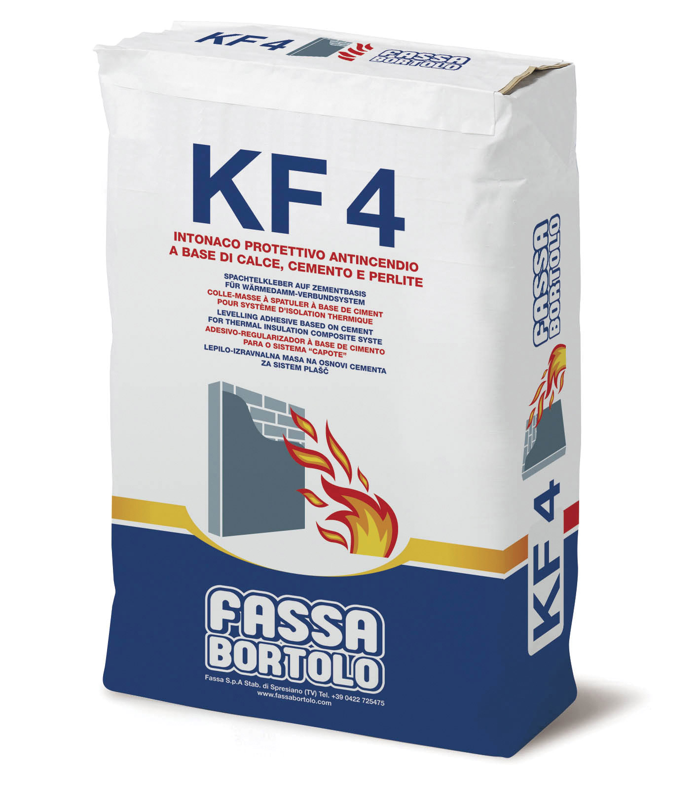 KF 4: Intonaco protettivo antincendio a base di calce, cemento e perlite per interni ed esterni