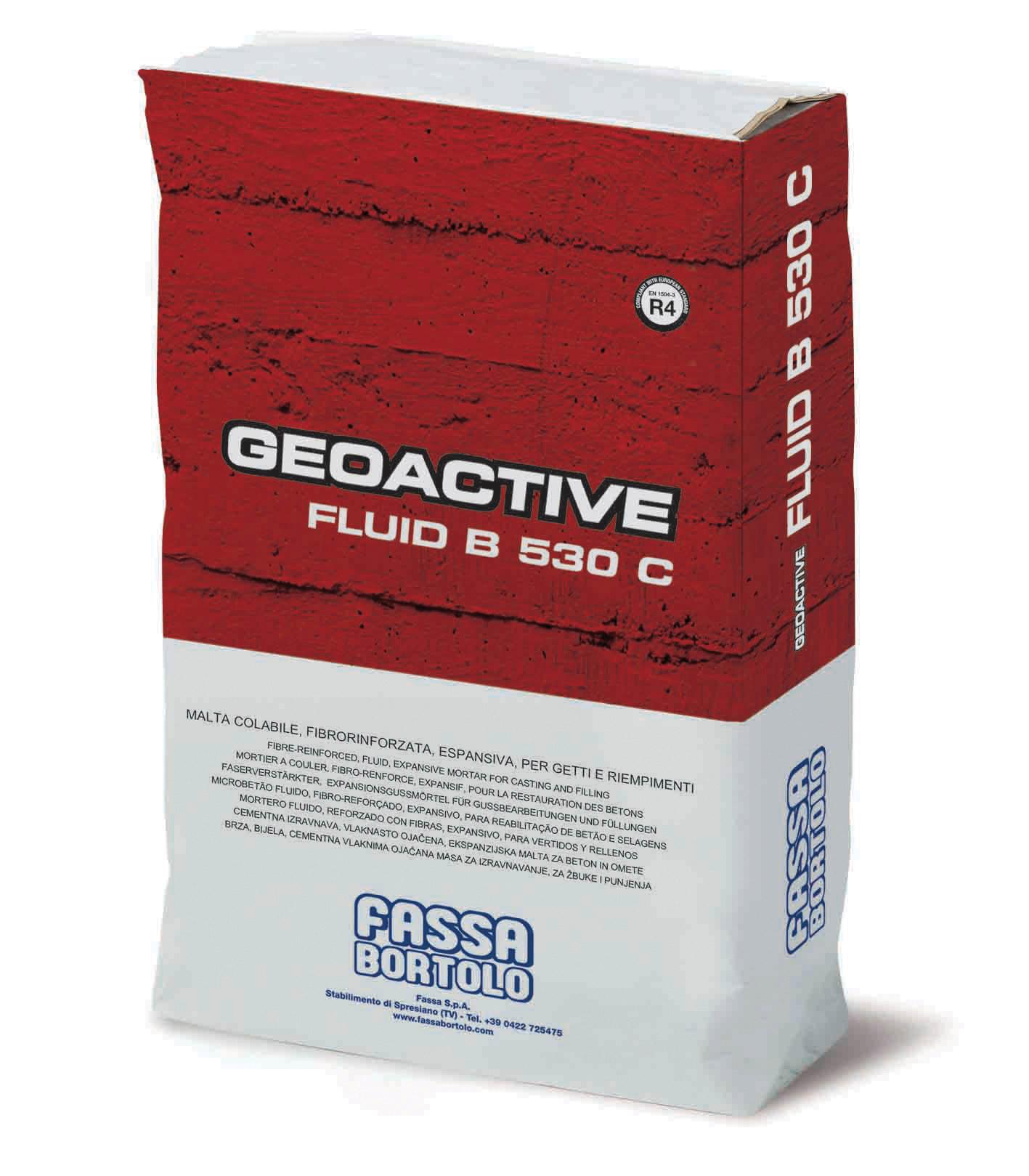 GEOACTIVE FLUID B 530 C: Malta cementizia a reologia controllabile da fluida a superfluida, espansiva, ad elevate prestazioni meccaniche, per il ripristino e il rinforzo di strutture in calcestruzzo armato e per ancoraggi di precisione di macchinari e strutture metalliche
