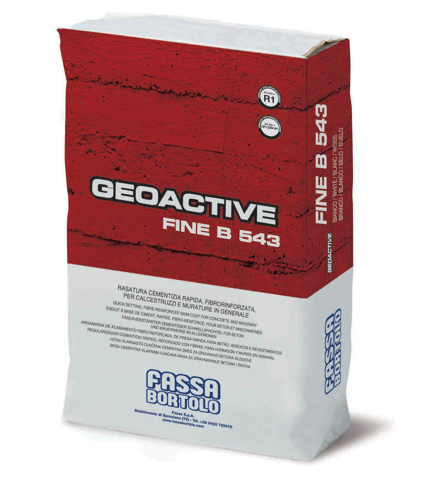 GEOACTIVE FINE B 543: Rasante cementizio rapido, fibrorinforzato, idrofugato, bianco e grigio per calcestruzzo, rivestimenti plastici e intonaci