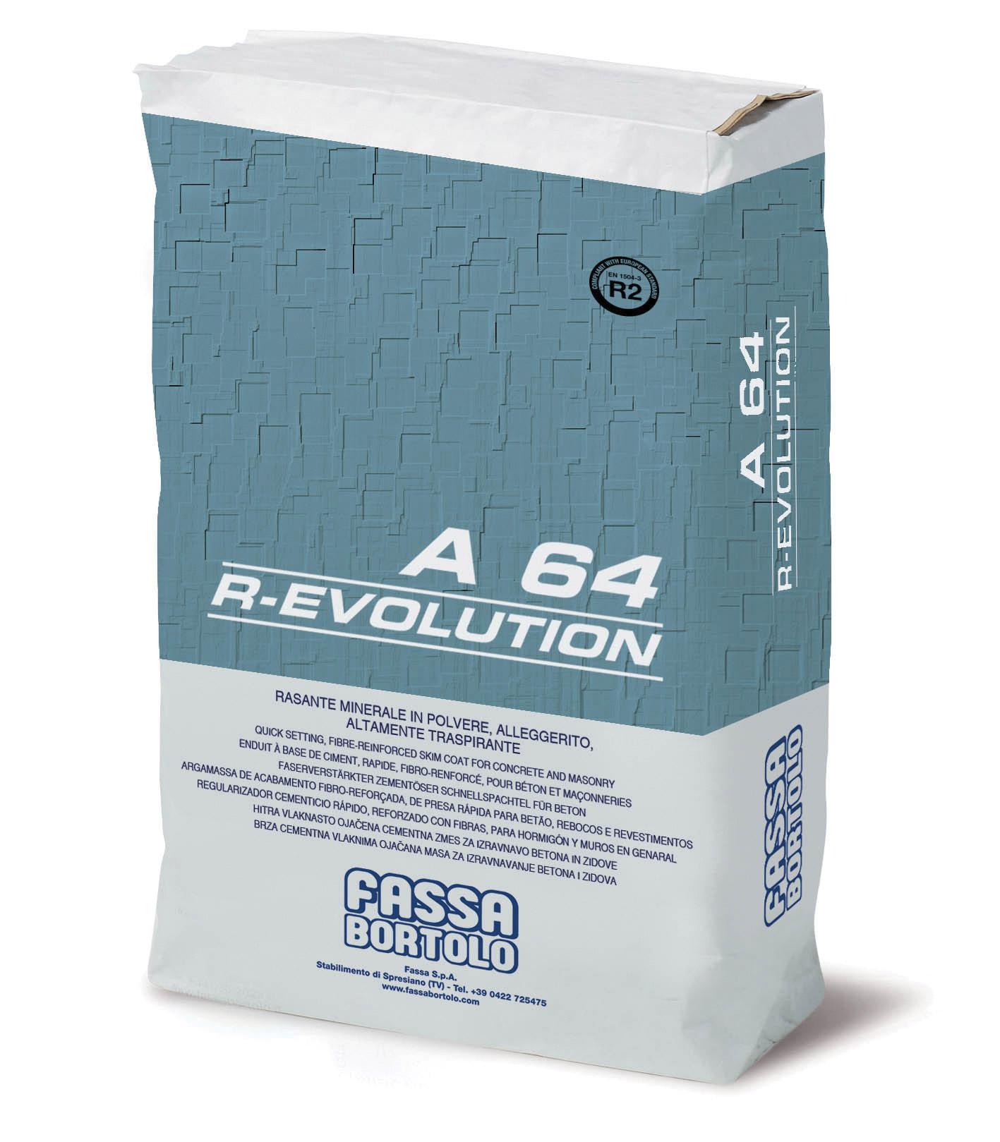A 64 R-EVOLUTION: Rasante minerale fibrorinforzato idrofugato, da applicarsi su superfici di elevate resistenze meccaniche, a base di calce e legante idraulico, per interno ed esterno