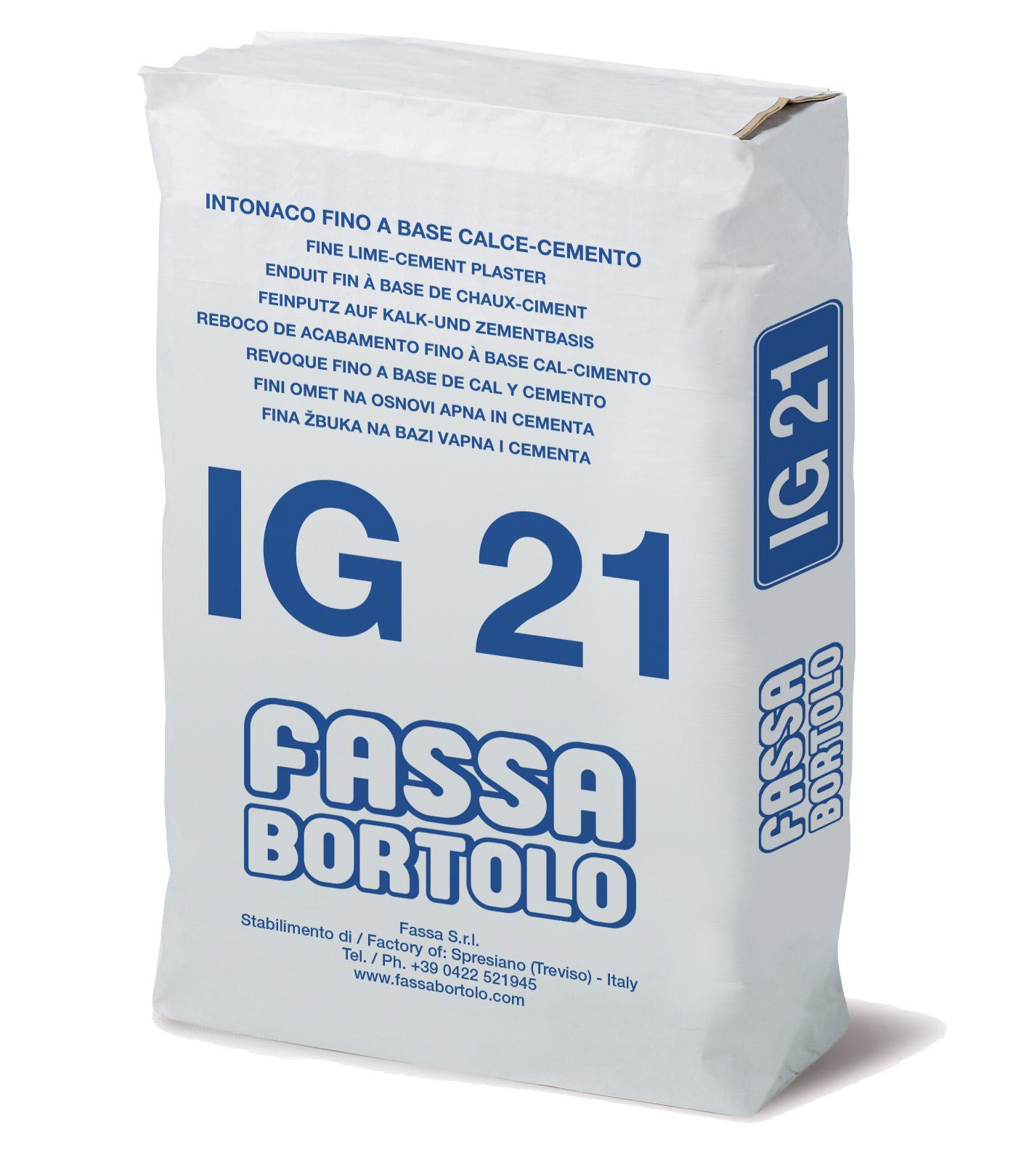 IG 21: Intonaco di finitura a base di calce e cemento bianco o grigio, per esterni ed interni