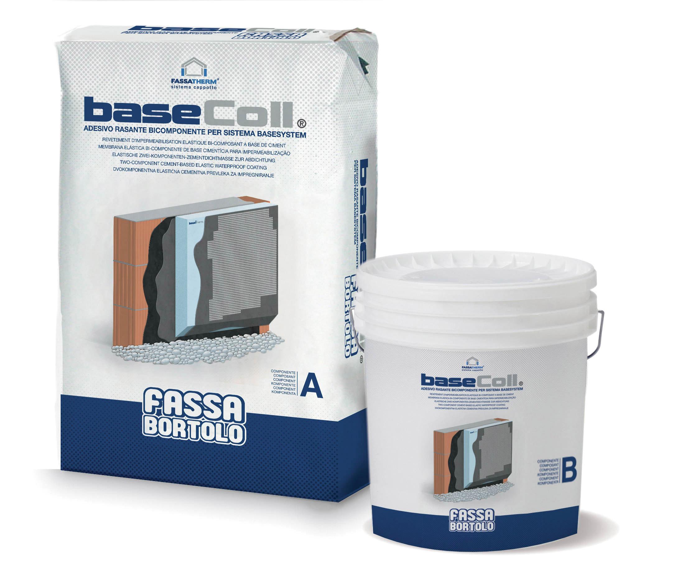 BASECOLL: Adesivo e rasante impermeabilizzante bicomponente cementizio per lastre da zoccolatura in EPS BASETHERM