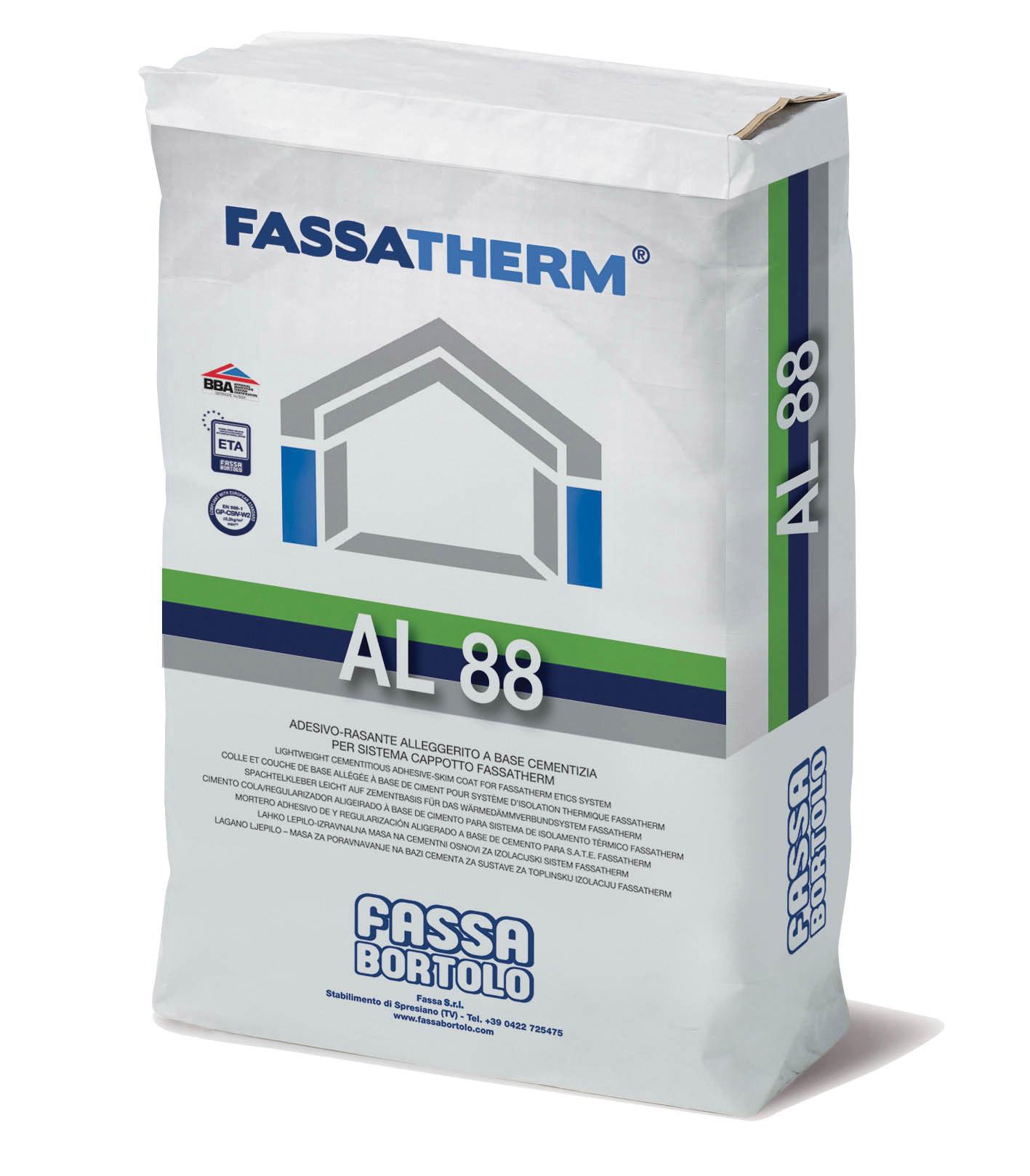 AL 88: Collante-Rasante alleggerito a base cementizia bianco per Sistemi Fassatherm®