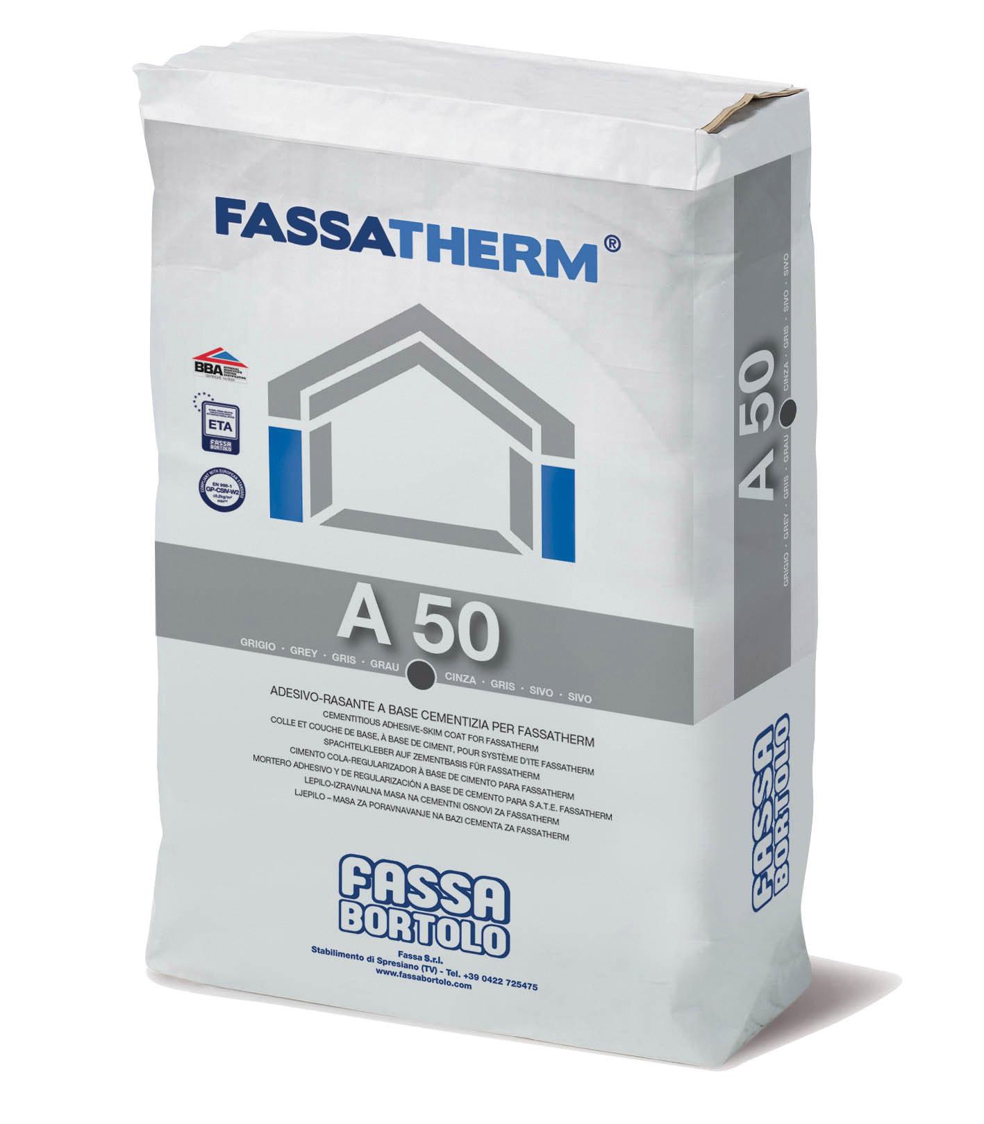 A 50: Collante-Rasante a base cementizia grigio e bianco ad elevate prestazioni per Sistemi Fassatherm®