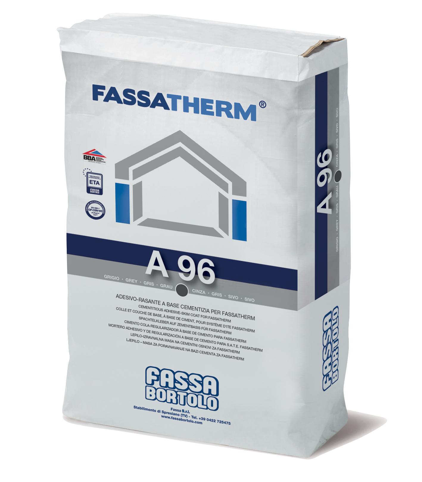 A 96: Collante-Rasante fibrato a base cementizia grigio e bianco per Sistemi Fassatherm®