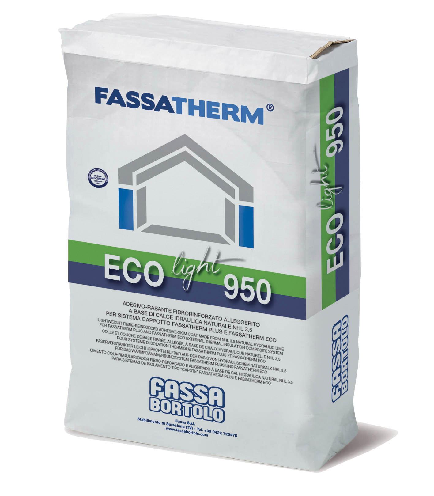 ECO-LIGHT 950: Adesivo-rasante fibrorinforzato alleggerito a base di calce idraulica naturale NHL 3,5 per sistema cappotto Fassatherm PLUS e Fassatherm ECO