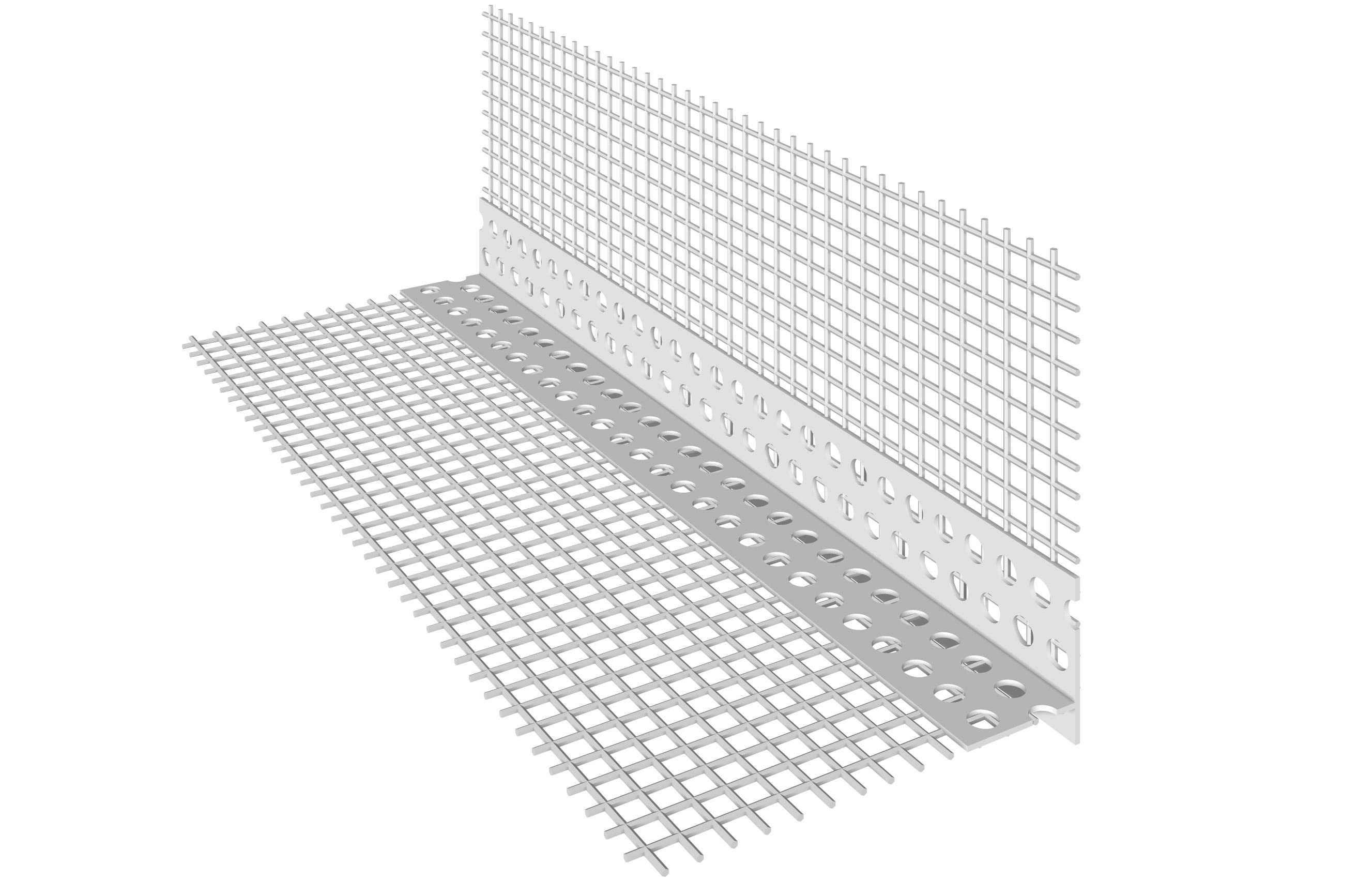 PARASPIGOLO IN PVC CON GOCCIOLATOIO VERTICALE: Paraspigolo in PVC con rete in fibra di vetro preincollata e gocciolatoio verticale