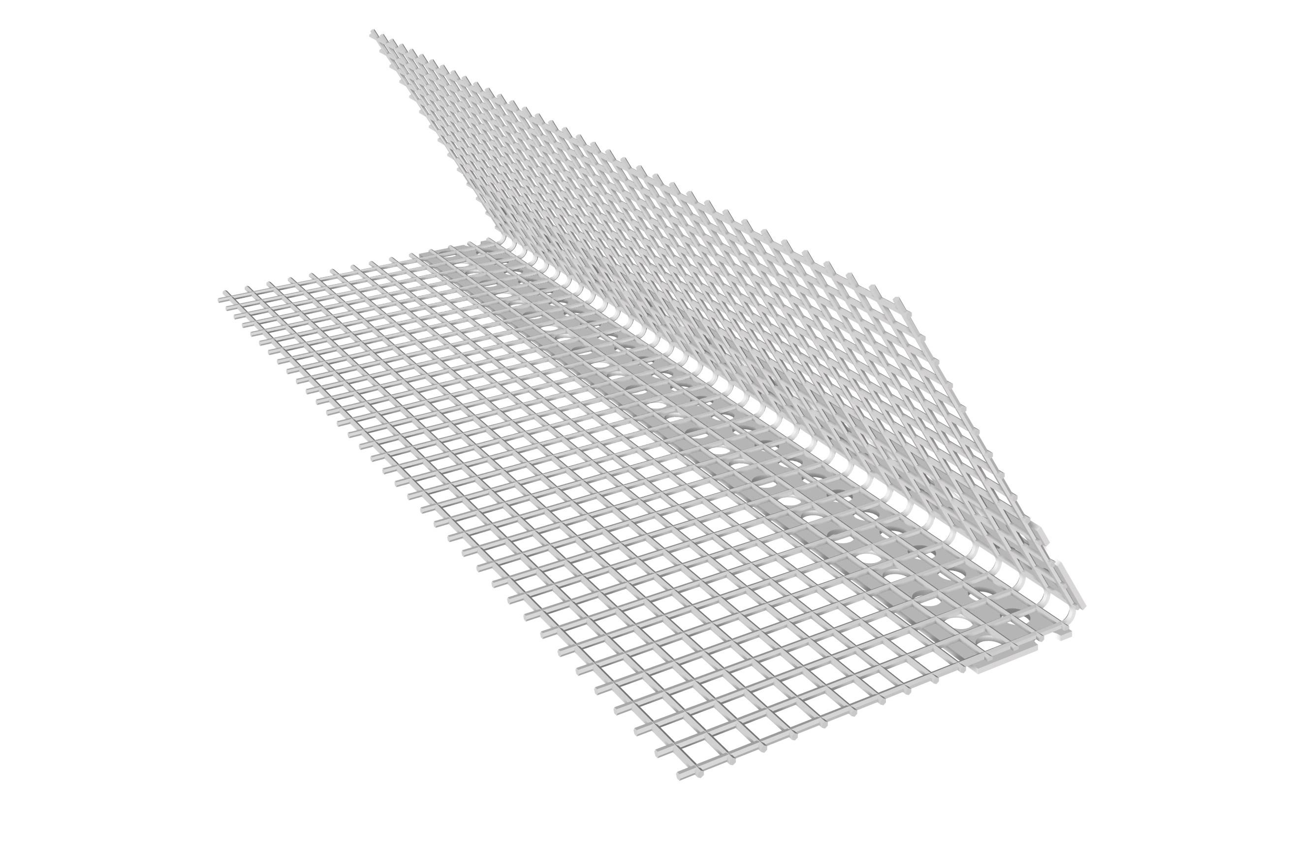 PARASPIGOLO IN PVC IN ROTOLO: Paraspigolo in rotolo in PVC con rete in fibra di vetro preincollata ad angolo variabile