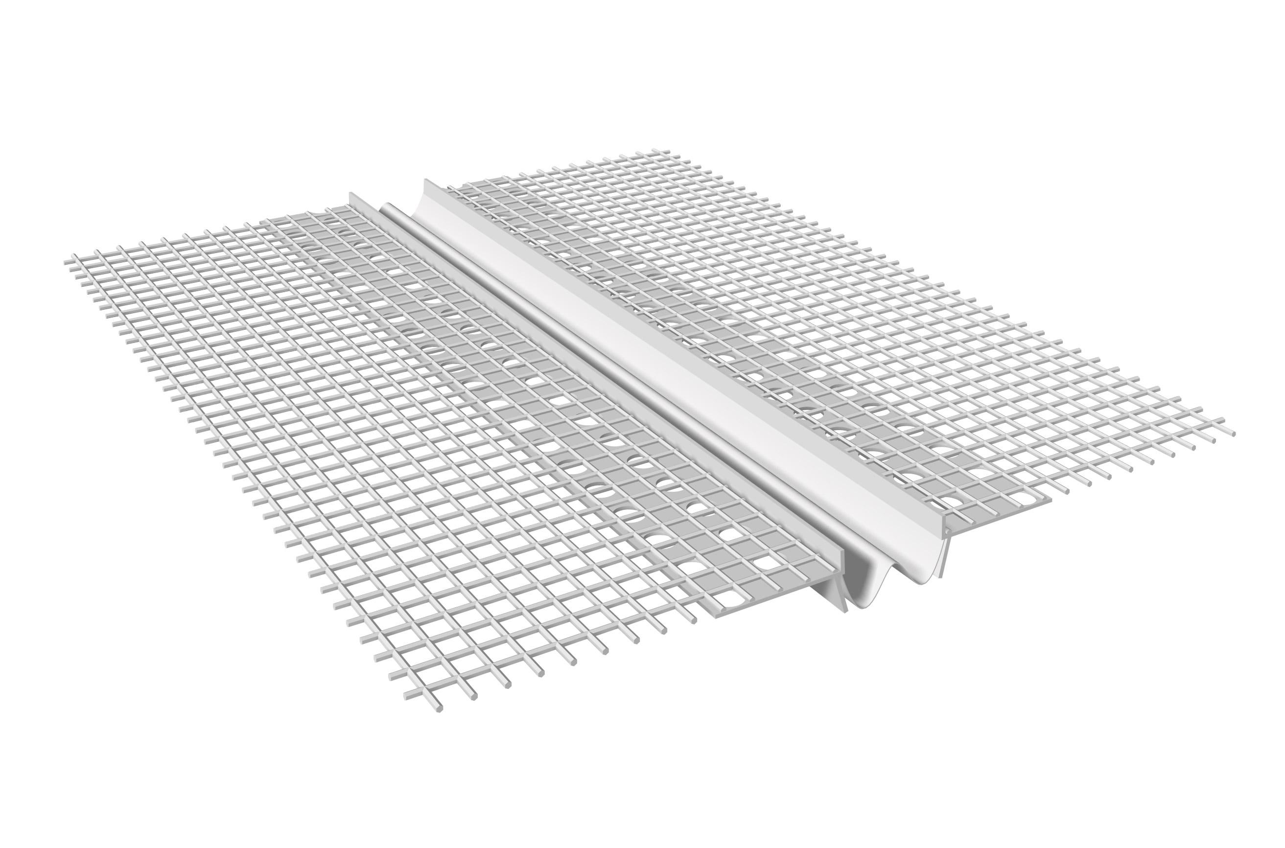 GIUNTO DI DILATAZIONE VERTICALE IN PVC: Giunto di dilatazione in PVC con rete in fibra di vetro preincollata