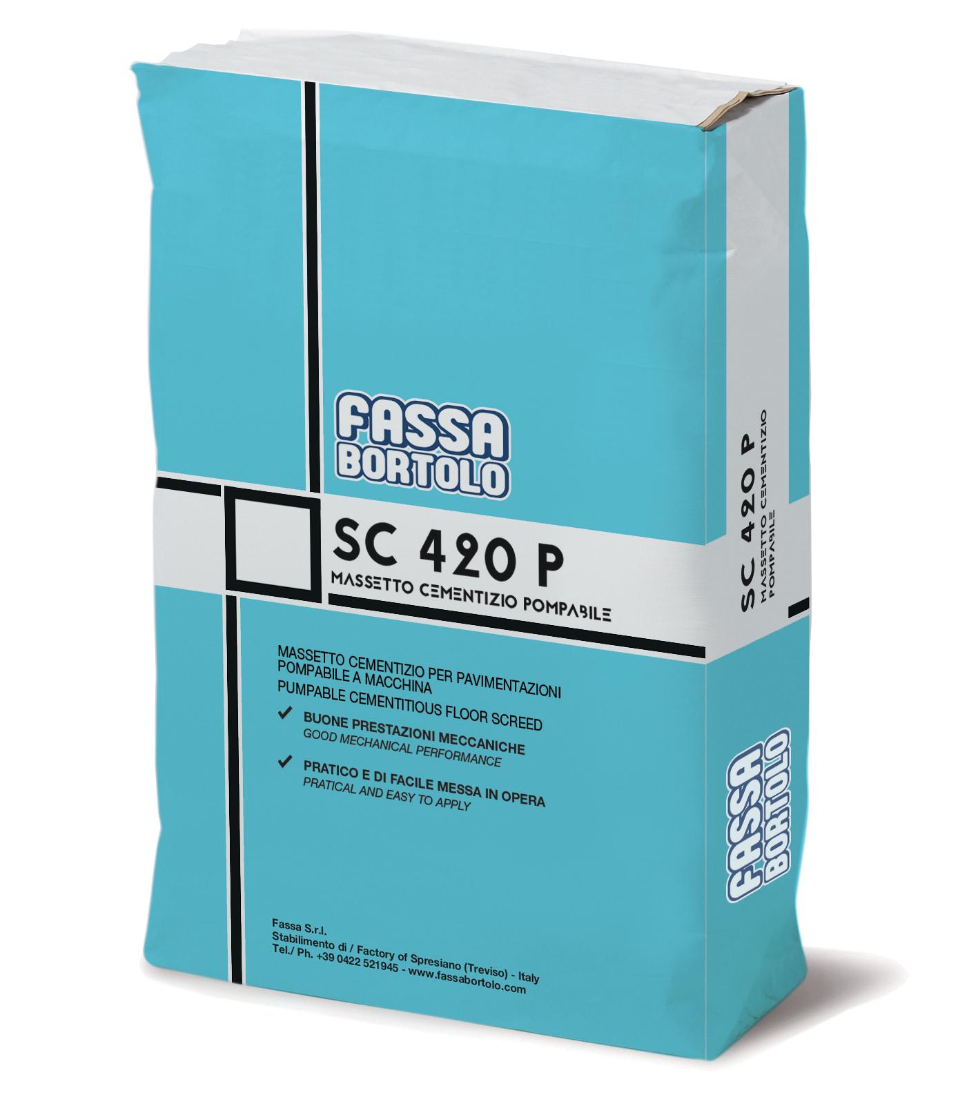 SC 420 P: Massetto a base cementizia, ad essiccazione tradizionale e ritiro controllato, per pavimenti interni ed esterni, pompabile a macchina