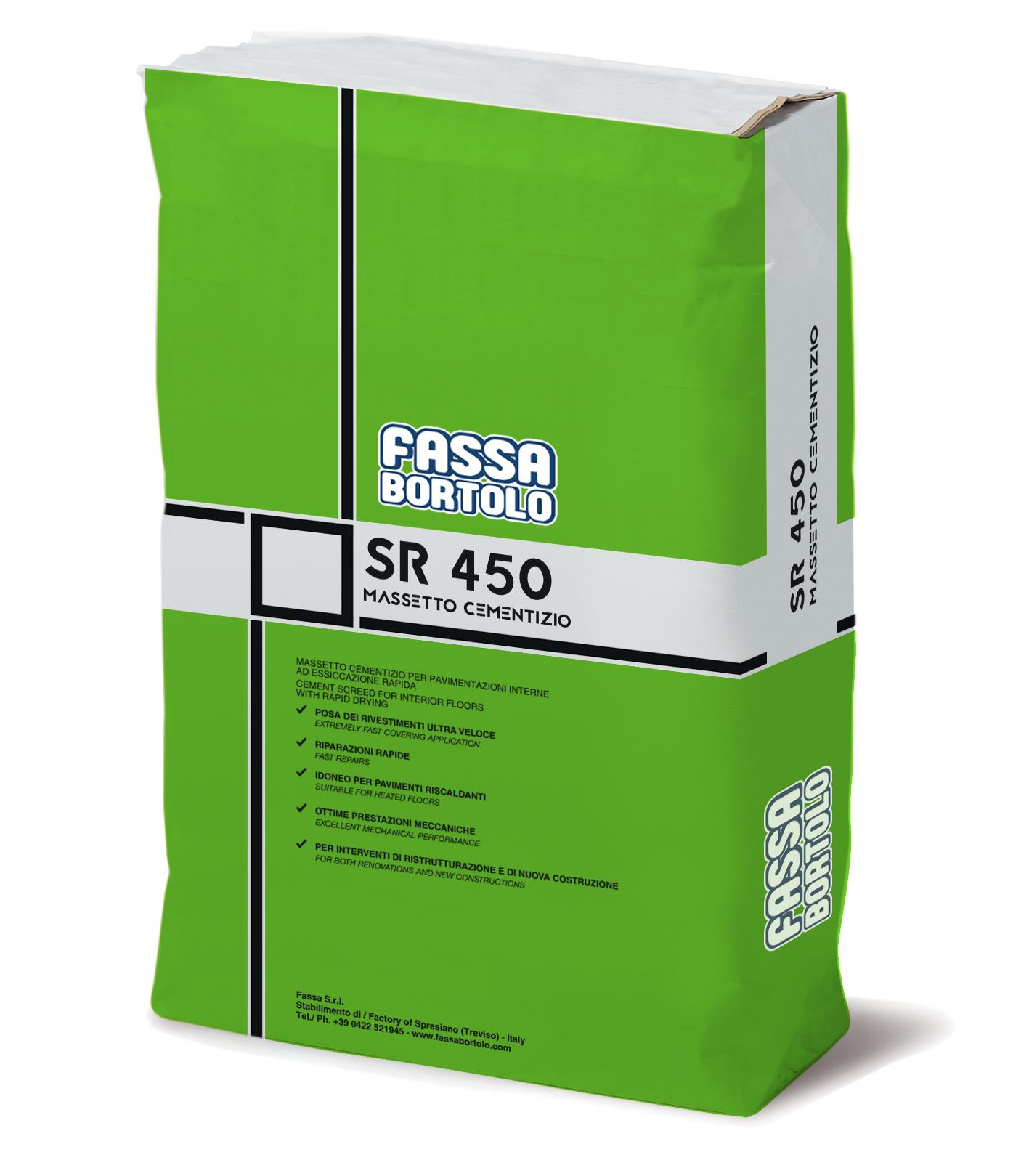 SR 450: Massetto a base cementizia, ad essicazione rapida e ritiro controllato, per pavimenti interni