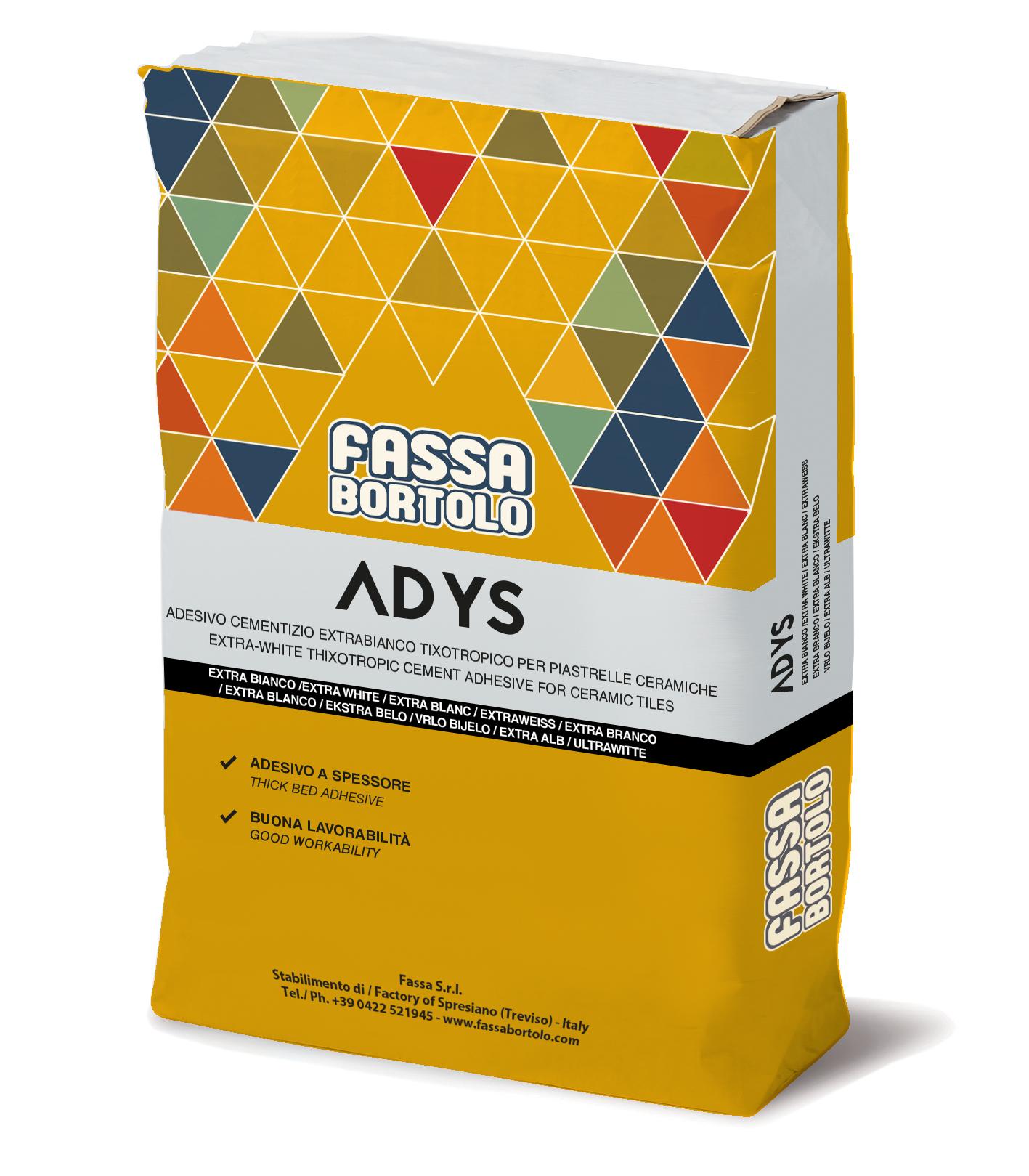ADYS: Adesivo monocomponente extra-bianco e grigio per pavimenti e rivestimenti sia interni che esterni