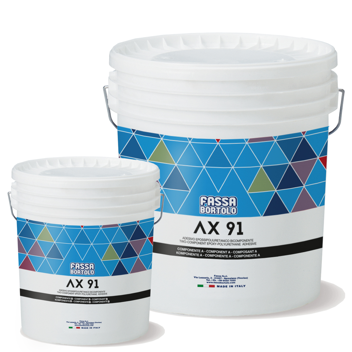 AX 91: Adesivo epossipoliuretanico bicomponente, bianco e grigio, ad altissima flessibilità, per interni ed esterni
