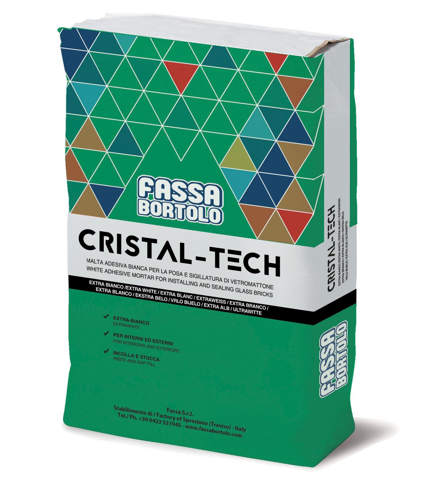 CRISTAL-TECH: Adesivo cementizio extra-bianco per elementi in vetromattone