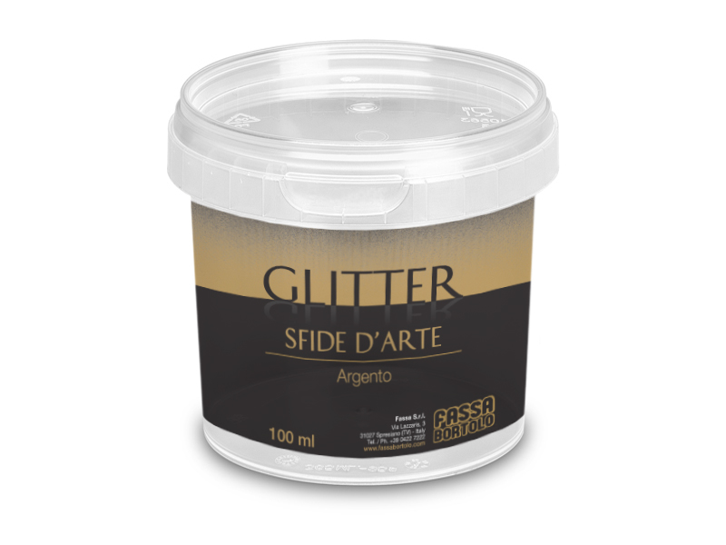 GLITTER SFIDE D'ARTE: Additivo in pasta a base di glitter lamellari color argento.